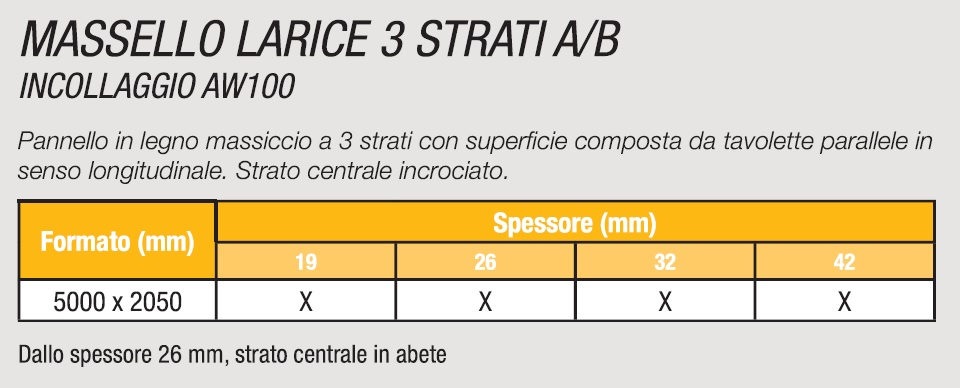 MASSELLO LARICE 3 STRATI AB/B - SPECIFICHE